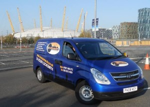 Locksmith Greenwich. Our van in Greenwich with O2 Arena in the background